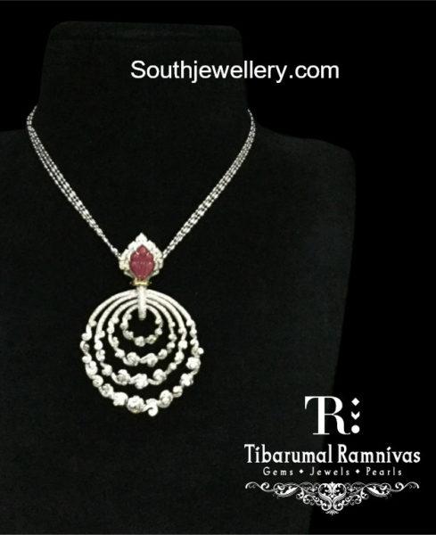 platinum chain with diamond pendant