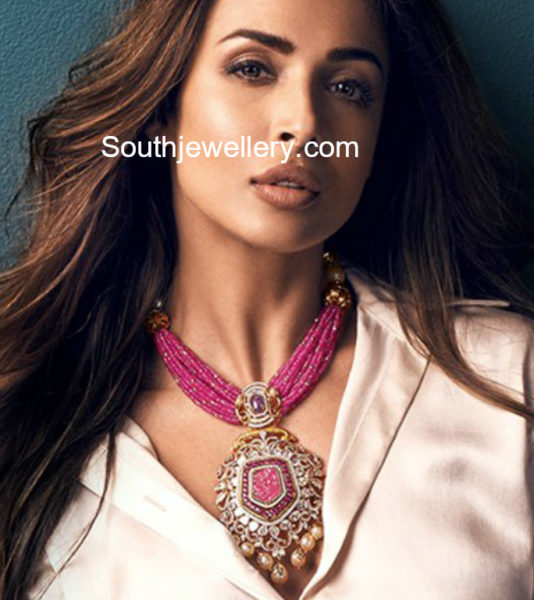 ruby beads necklace with diamond pendant
