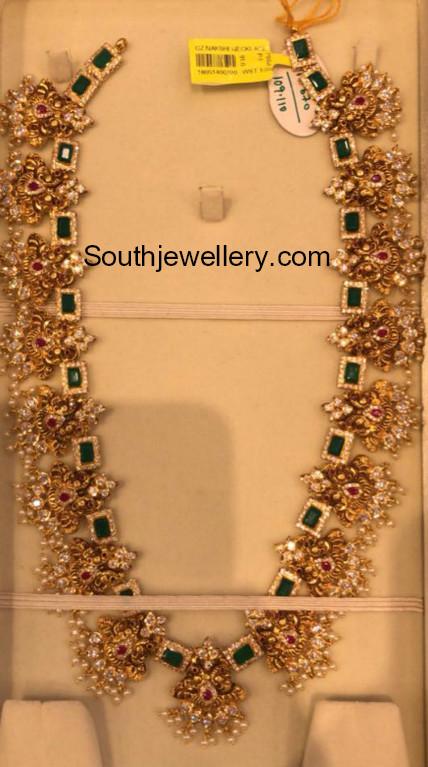 antique gold long haram jewellery designs