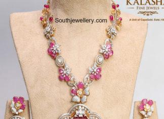 diamond ruby haram and earrings set