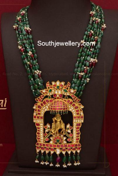 emerald beads mala krishna pendant