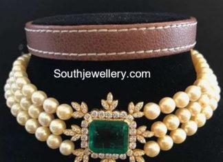 pearl choker diamond pendant