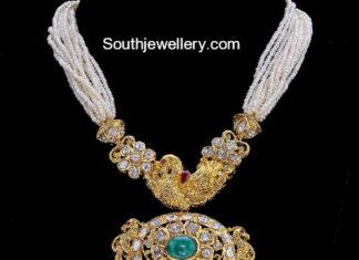 pearl mala gold pendant