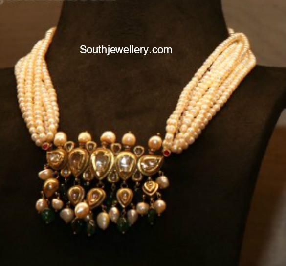 pearl necklace kundan pendant