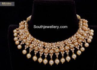 polki diamond and pearl choker