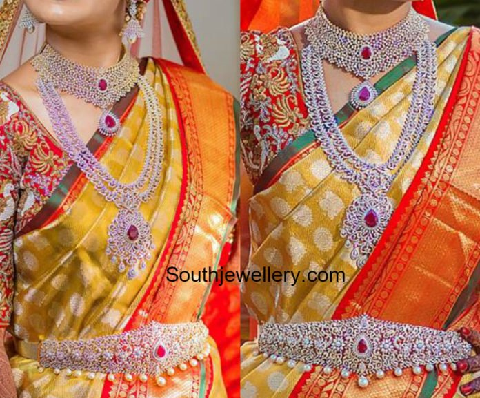south indian bride diamond jewellery