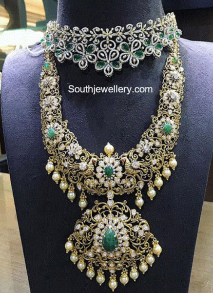 diamond choker and nakshi diamond haram