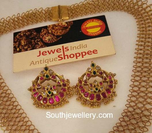 gold links necklace kundan pendant