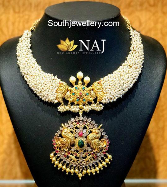 pearl necklace nakshi pendant