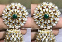 polki diamond and pearl jhumkas