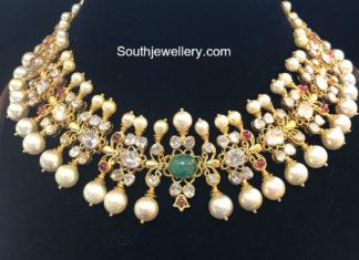 polki diamond pearl necklace