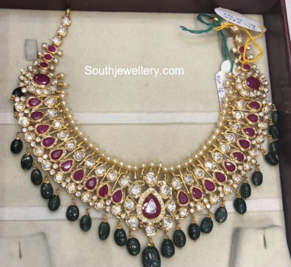ruby emerald polki necklace