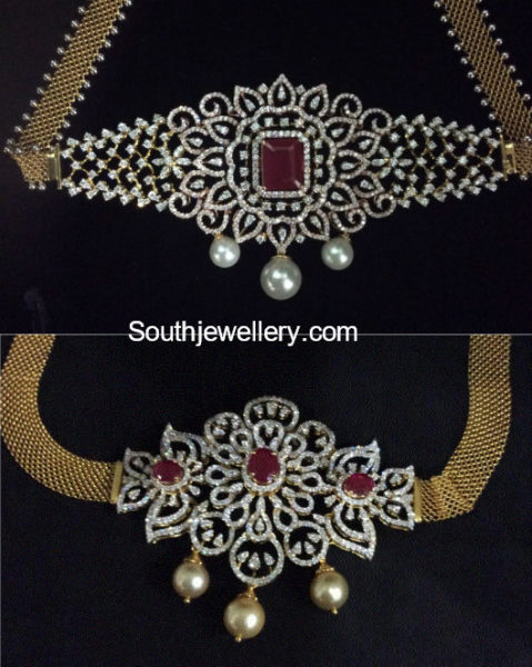 diamond ruby choker plus armlet designs