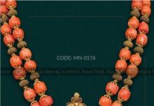 coral beads mala ganesh pendant