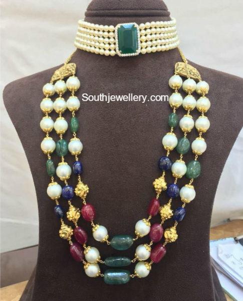 pearl choker and beads mala