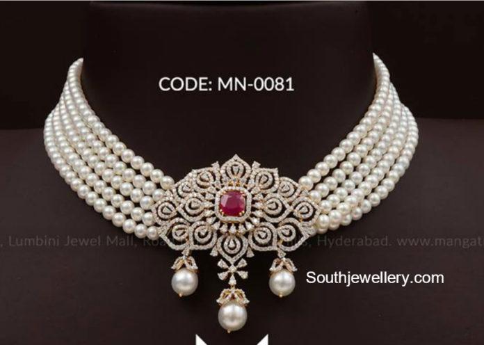 south sea pearl choker with diamond pendant
