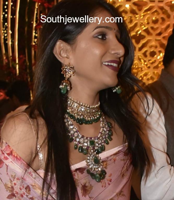 polki diamond emerald necklace and choker
