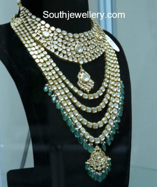 polki diamond necklace and haram