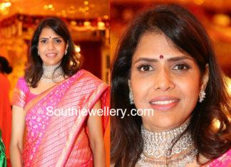 shalini bhupal diamond choker set in shriya bhupal wedding