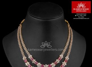 two step ruby cz necklace