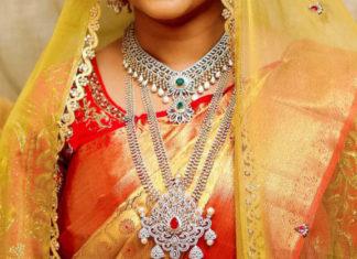 south indian bride diamond jewellery set