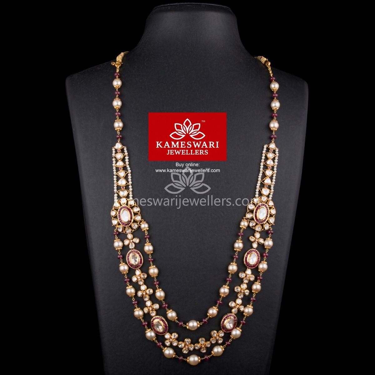 Step Mala With Flat Diamond Polki Jewellery Designs