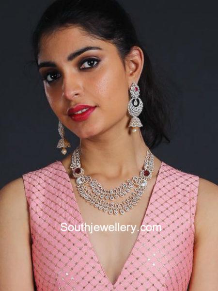diamond ruby necklace and jhumkas