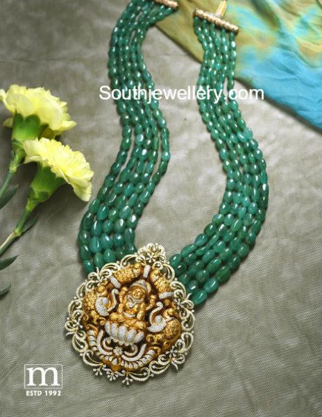 emerald beads mala nakshi pendant