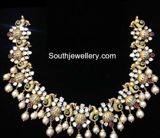 polki diamond peacock necklace