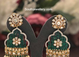 polki emerald earrings