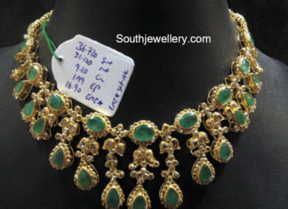 emerald and uncut diamond necklace
