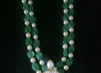 emerald beads mala ganesh pendant