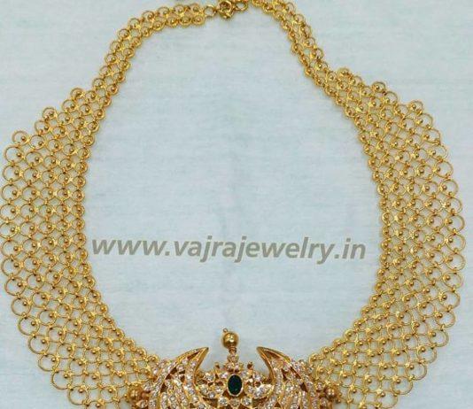 gold links necklace diamond pendant