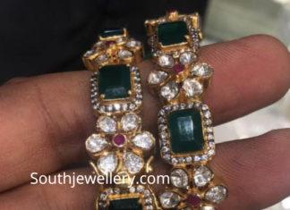 emerald polki diamond bangles