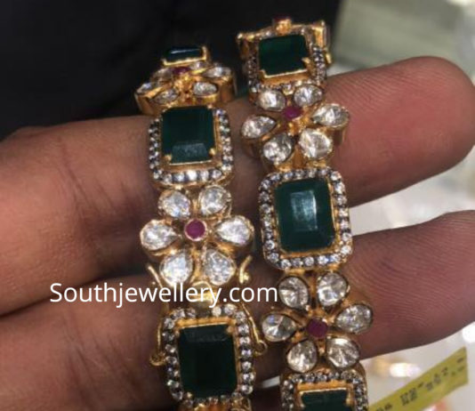 emerald polki diamond bangles
