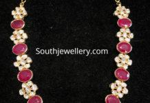 floral ruby cz necklace