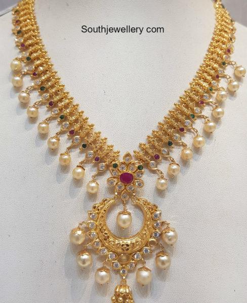 ba358665d Light Weight Gold Bridal Necklace Set - Jewellery Designs