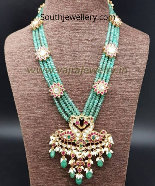green beads mala with peacock pendant