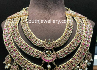 kundan polki step necklace