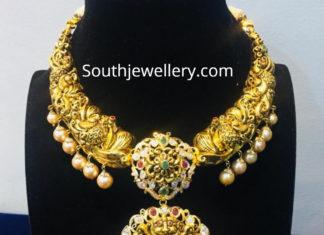 peacock nakshi necklace lakshmi pendant