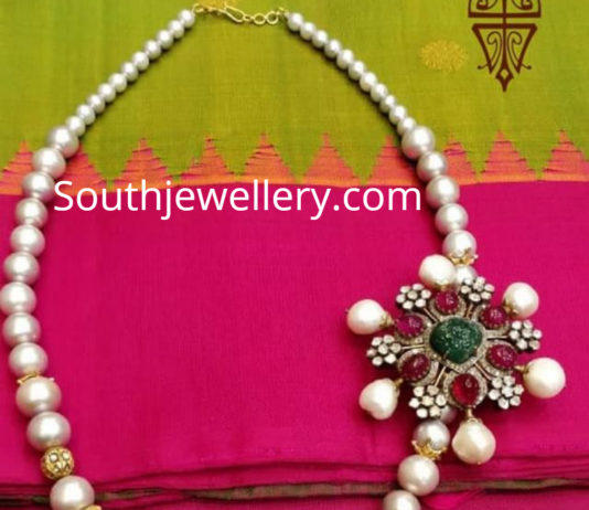 pearl necklace ruby side pendant