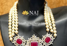 south sea pearl necklace with cz ruby pendant