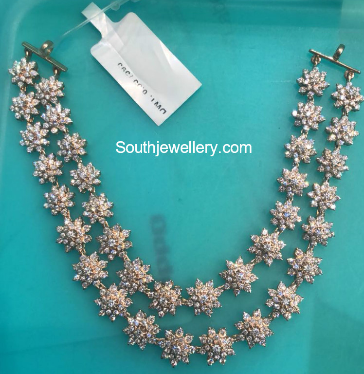 71f77018144a54 Two step floral diamond necklace - Jewellery Designs