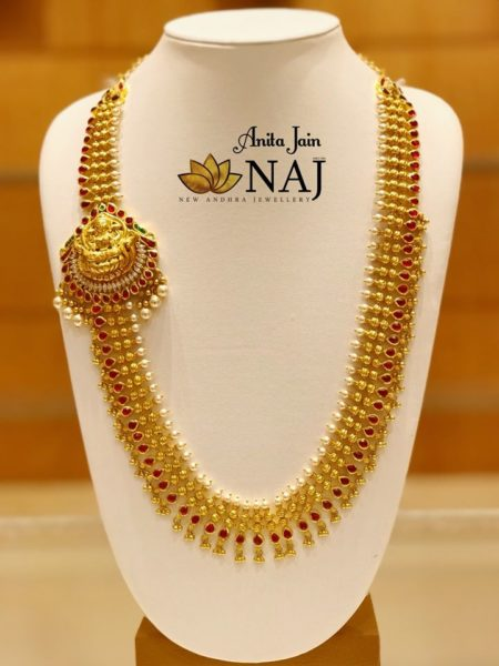 gold haram lakshmi side pendant
