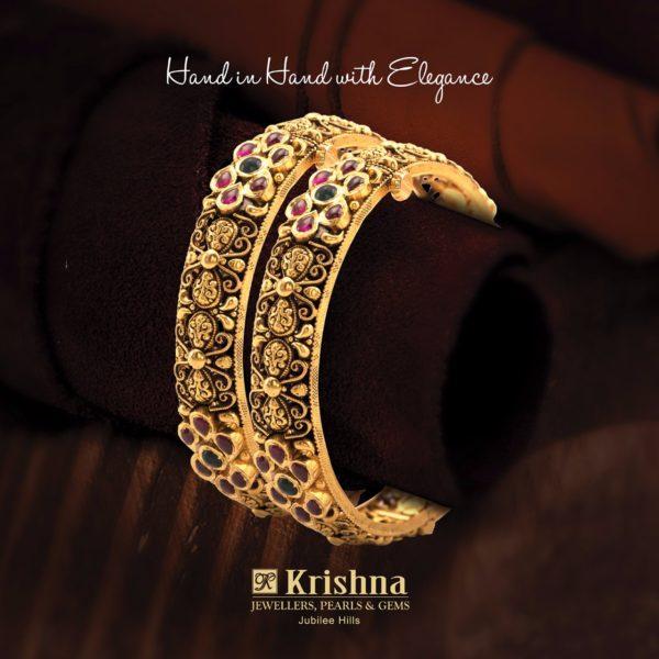 krishna pearls gold bangles