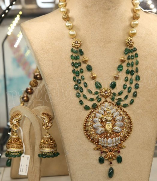 emerald beads mala with gold pendant