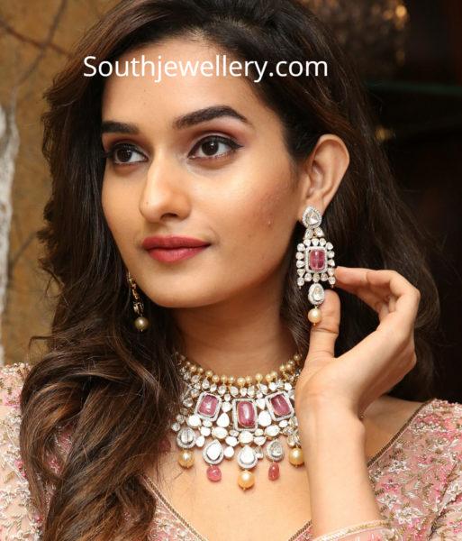 polki diamond necklace and earrings