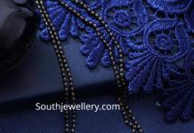 black beads mangalsutra chain with diamond pendant