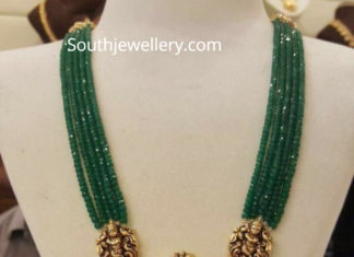 emerald beads mala with radha krishna pendant