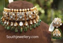 polki diamond necklace and jhumkas set